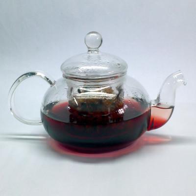 Bule de vidro transparente com infusor interno